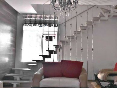 Ограждение для лестницы из нержавейки шторка-